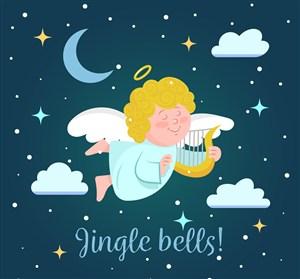 創意夜空中的圣誕天使矢量圖