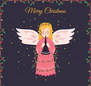 彩繪吹樂器的圣誕天使矢量圖