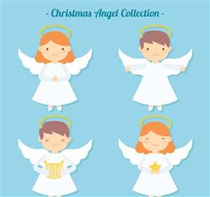 4款可愛白色圣誕天使矢量素材
