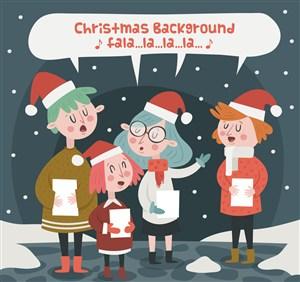 4個創意唱圣誕歌曲的女孩矢量素材