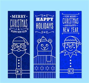 3款创意圣诞角色banner矢量素材