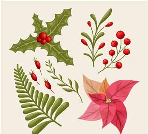 9款彩色圣诞节植物矢量素材