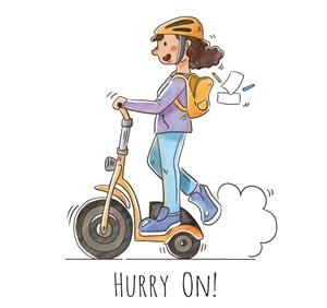 彩繪騎電動滑板車的女子矢量素材