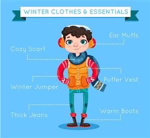 創意冬季著裝男子矢量素材