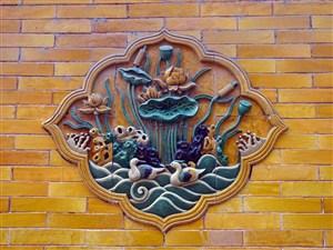 中式琉璃鴛鴦戲水吉祥壁畫