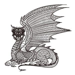 繁复细腻精致花纹组合拼接飞龙卡通动物形象艺术插画图案矢量素材