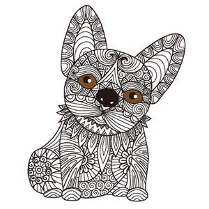 繁复细腻精致花纹组合拼接可爱狗狗卡通动物形象艺术插画图案矢量素材