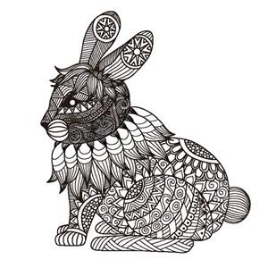 繁复细腻精致花纹组合拼接兔子卡通动物形象艺术插画图案矢量素材