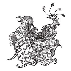 繁复细腻精致花纹组合拼接凤凰卡通动物形象艺术插画图案矢量素材