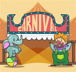 创意狂欢节杂耍大象和小丑矢量图