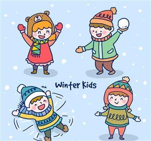 4款冬季玩耍兒童矢量素材