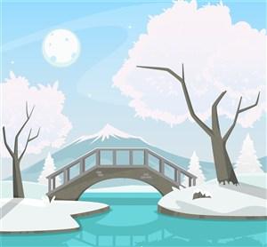 冬天背景插画素材
