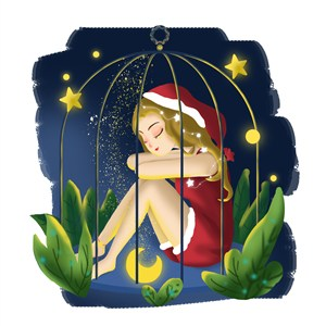 插畫籠中少女靜息圣誕