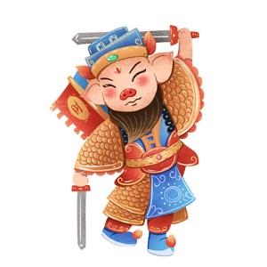 2019年春节猪年门神手绘