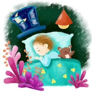 小男孩睡覺手繪兒童插畫配圖