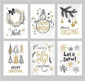 欧美英文圣诞节圣诞老人卡通可爱宣传单海报招贴矢量素材