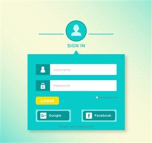 創意藍色網站登錄界面矢量素材