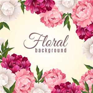 结婚伴手礼素材 结婚请柬素材 唯美淡雅花卉矢量 清新卡通大花卉素材