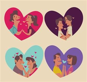 4對創意愛心里的情侶矢量素材