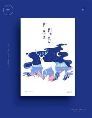 梦幻唯美森系小清新动物卡通麋鹿插画海报矢量素材