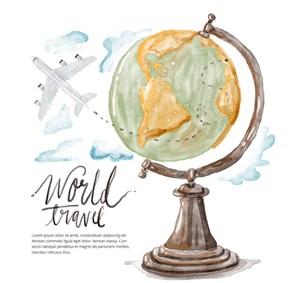 手绘水彩绘环球旅行地球仪飞机插画海报设计矢量素材
