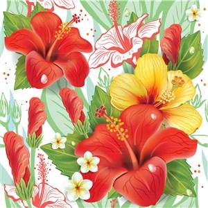 创意热带扶桑花矢量素材