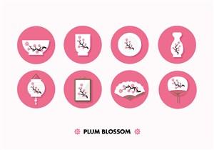 唯美浪漫日式瓷器灯笼画框扇子樱花花枝印花图案图标设计矢量素材