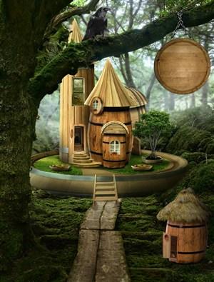森林中的木头古堡高清图片