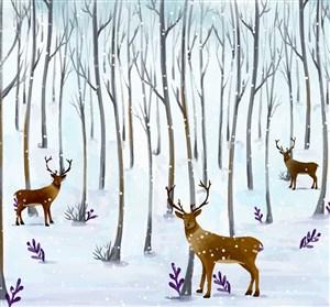 唯美水彩冬季飘雪森林驯鹿风景雪景插画矢量图