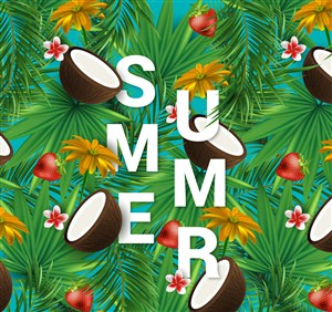 热带花草和椰子插画背景装饰夏季艺术字海报设计矢量图