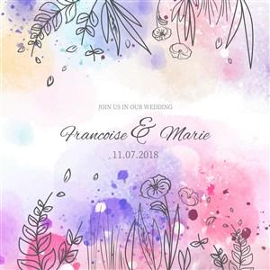 水彩晕染背景卡通手绘植物花朵枝叶黑白线稿花边边框装饰插画海报设计矢量素材