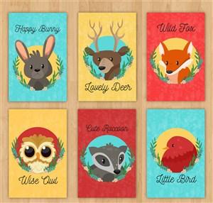 可爱野生动物兔子鹿狐狸猫头鹰鸟儿插画卡片矢量素材