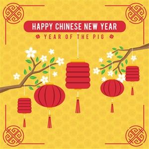新年春节海报矢量中国红喜庆素材中国传统新年素材