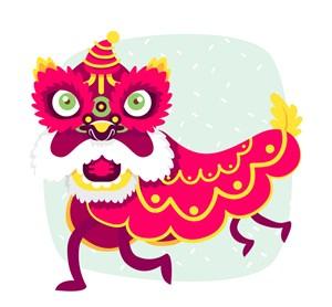 创意红色庆典舞狮子矢量素材