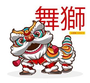 卡通白色春节舞狮矢量素材_