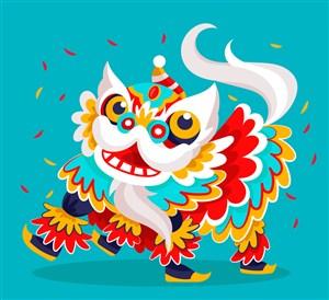 彩色动感节日舞狮子矢量素材