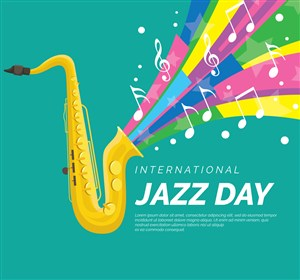 彩色國際爵士樂日薩克斯彩虹矢量素材