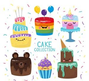 6款彩色可爱表情蛋糕矢量素材