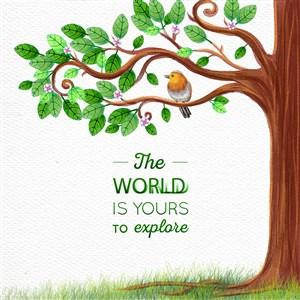 可爱卡通水彩手绘春天树木小鸟草地矢量插画背景
