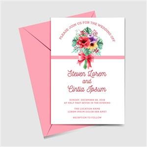 彩繪花束婚禮邀請卡和粉色信封矢量圖