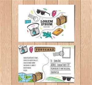 彩绘旅行明信片正反面矢量素材