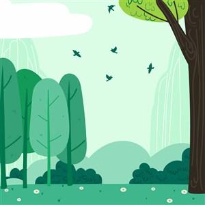 可爱卡通春天花卉野花草地小鸟树木矢量插画背景