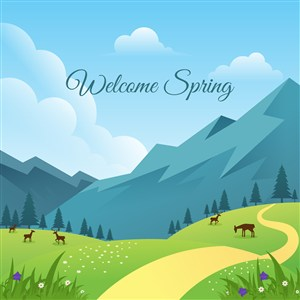 可爱卡通春天花卉野花草地树木蓝天山鹿矢量插画背景