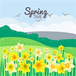 可爱卡通春天花卉野花草地水仙花树木蓝天矢量插画背景