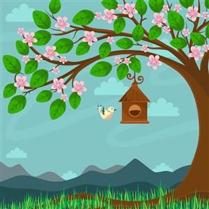 可爱卡通春天花卉草地小鸟树木樱花矢量插画背景
