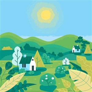 可爱卡通春天草地太阳树木房子山蓝天矢量插画背景