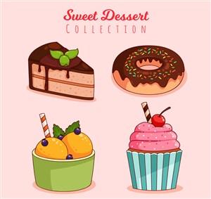 4款美味甜点设计矢量素材