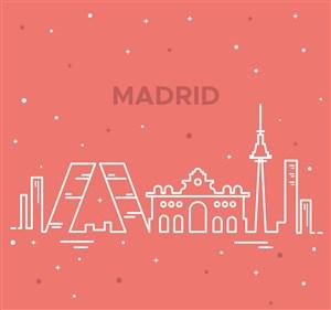 白色抽象馬德里著名建筑矢量圖