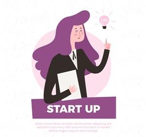 創意紫色長發商務女子矢量素材