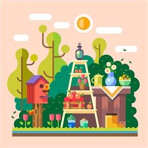 卡通手绘欧式田园花园花卉果园小鸟树木郁金香橘子小清新素材矢量